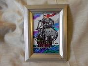 Витражная картина «Парусник в океане (каракка)»
