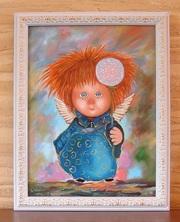 Картина маслом на подарок  Ангел с одуванчиком